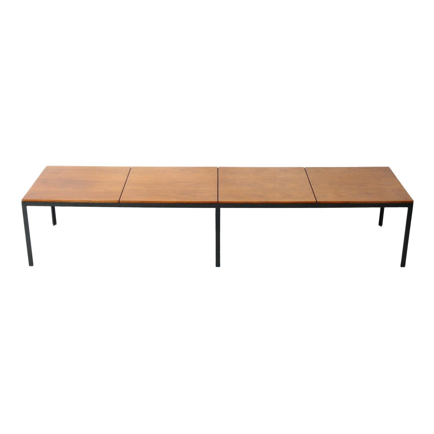 Clean Lined Walnut and Iron Coffee Table or Bench by Florence Knoll