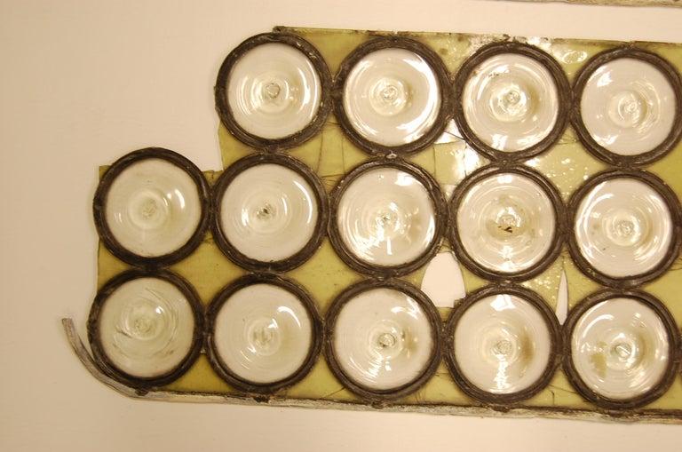 Victorian Clear Diameter Bullseye Glass Window Rondoles Set in Lead For Sale
