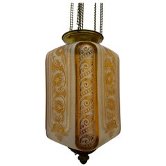 Clear and Amber Art Nouveau Candle Lantern by Baccarat, France, circa 1890