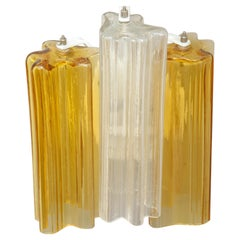 Clear and Amber Venini Tronchi Glass Sconce