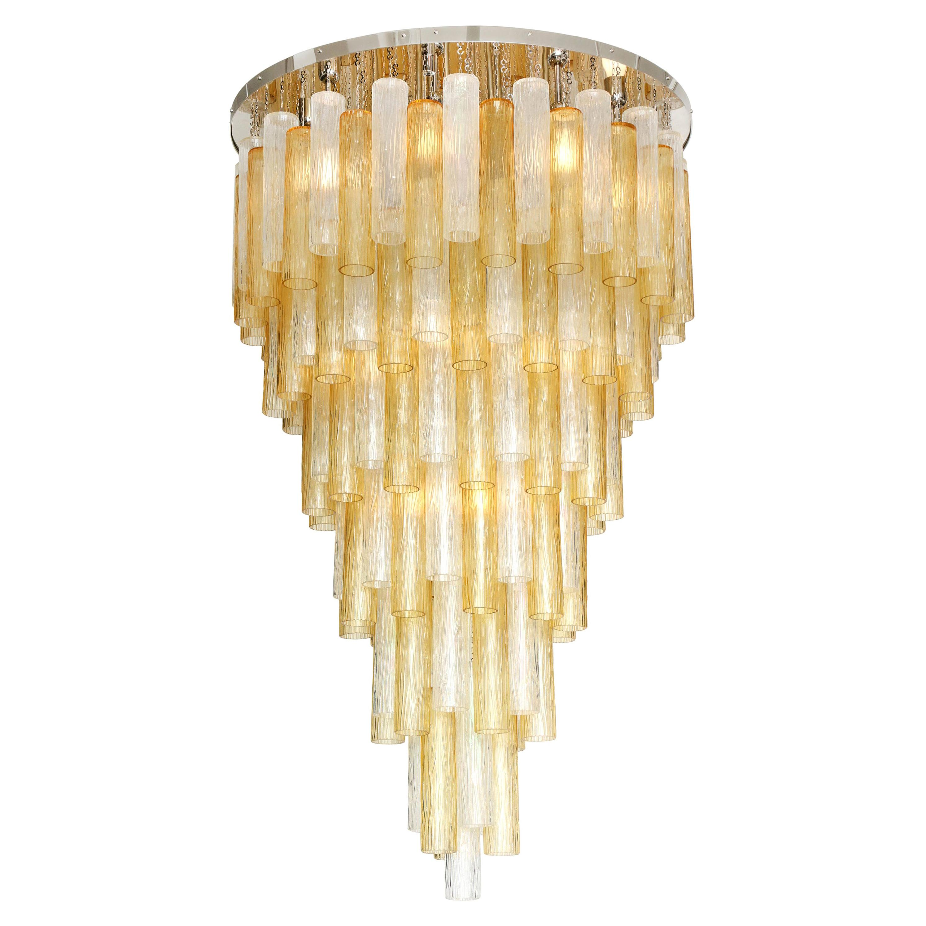 Clear and Gold Tiered Murano Glass and Chrome Flush Mount Chandelier, Italy