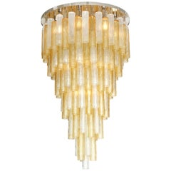 Clear and Gold Tiered Murano Glass and Chrome Flush Mount Chandelier, Italy, New