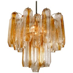 Clear and Orange/Amber Angled Glass Tubes Chandelier by J.T. Kalmar