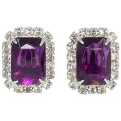 Clear and Purple Amethyst Crystal Silvertone Clip on Earrings, Mid 1900s