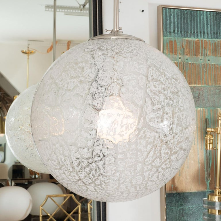 Mid-Century Modern Clear and White Mottled Glass Pendant For Sale