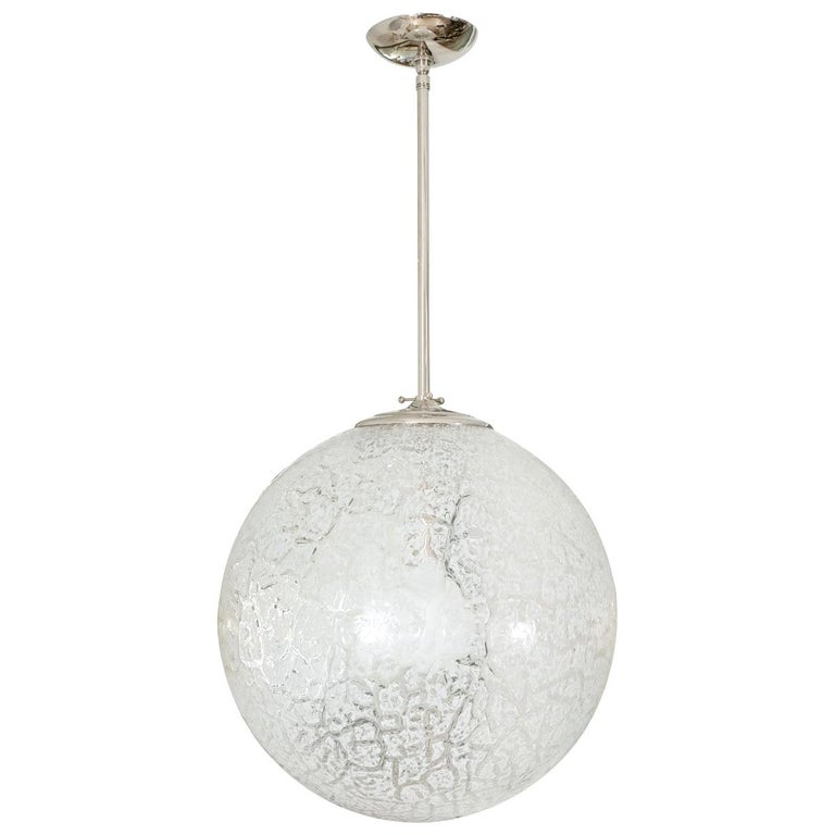 Clear and White Mottled Glass Pendant For Sale