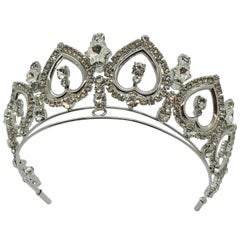 "Clear Austrian Crystal ""Belle Epoque"" Scroll Tiara"