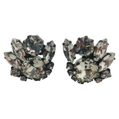 Clear Austrian Crystal Button Cluster Japanned Clip Earrings