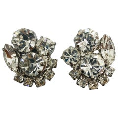 Clear Austrian Crystal Button Cluster Rhodium Clip Earrings