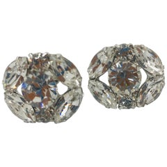 Clear Austrian Crystal Cuff Links