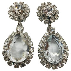 "Clear Austrian Crystal ""Perfect Drop"" Pendant Clip Earrings"