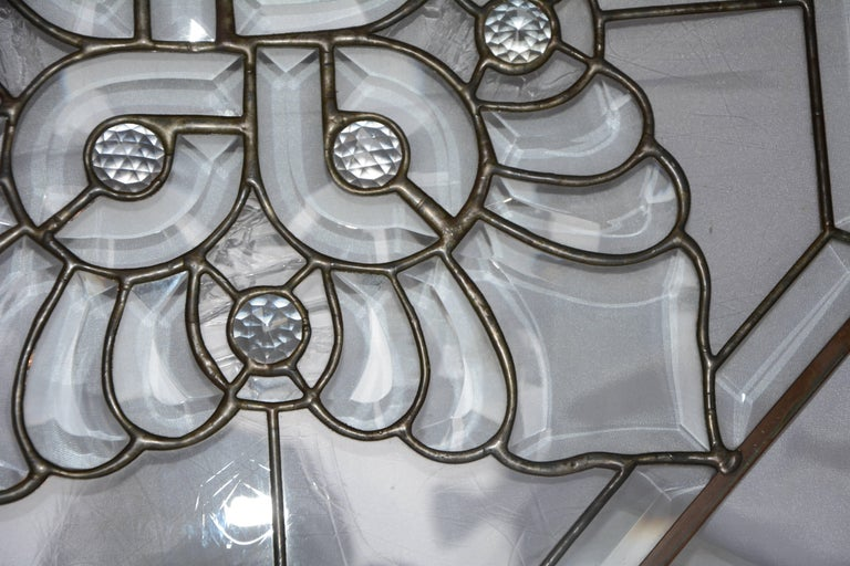 Beveled Clear Bevelled, Leaded Glass Mounted in Copper For Sale