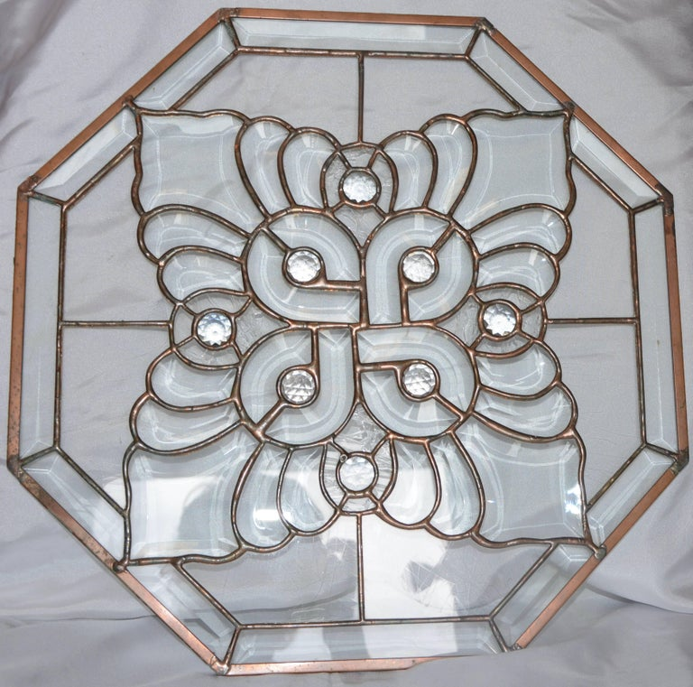 Clear Bevelled, Leaded Glass Mounted in Copper In Good Condition For Sale In Cookeville, TN