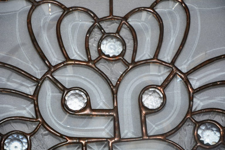 20th Century Clear Bevelled, Leaded Glass Mounted in Copper For Sale