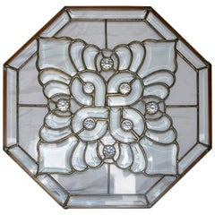 Clear Bevelled, Leaded Glass Mounted in Copper