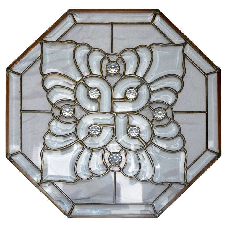 Clear Bevelled, Leaded Glass Mounted in Copper For Sale