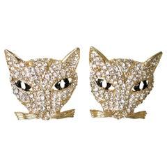 Clear & Black Crystal Cat Earrings