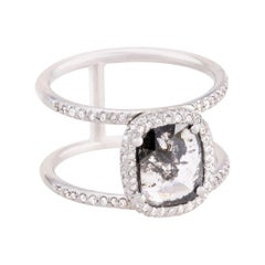 Clear Black Diamond Slice Double Halo Pave Double Band Ring in 18k White Gold