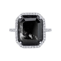 Clear Black Portrait Cut Rustic Diamond Ring with Diamond Halo in 18k White Gold
