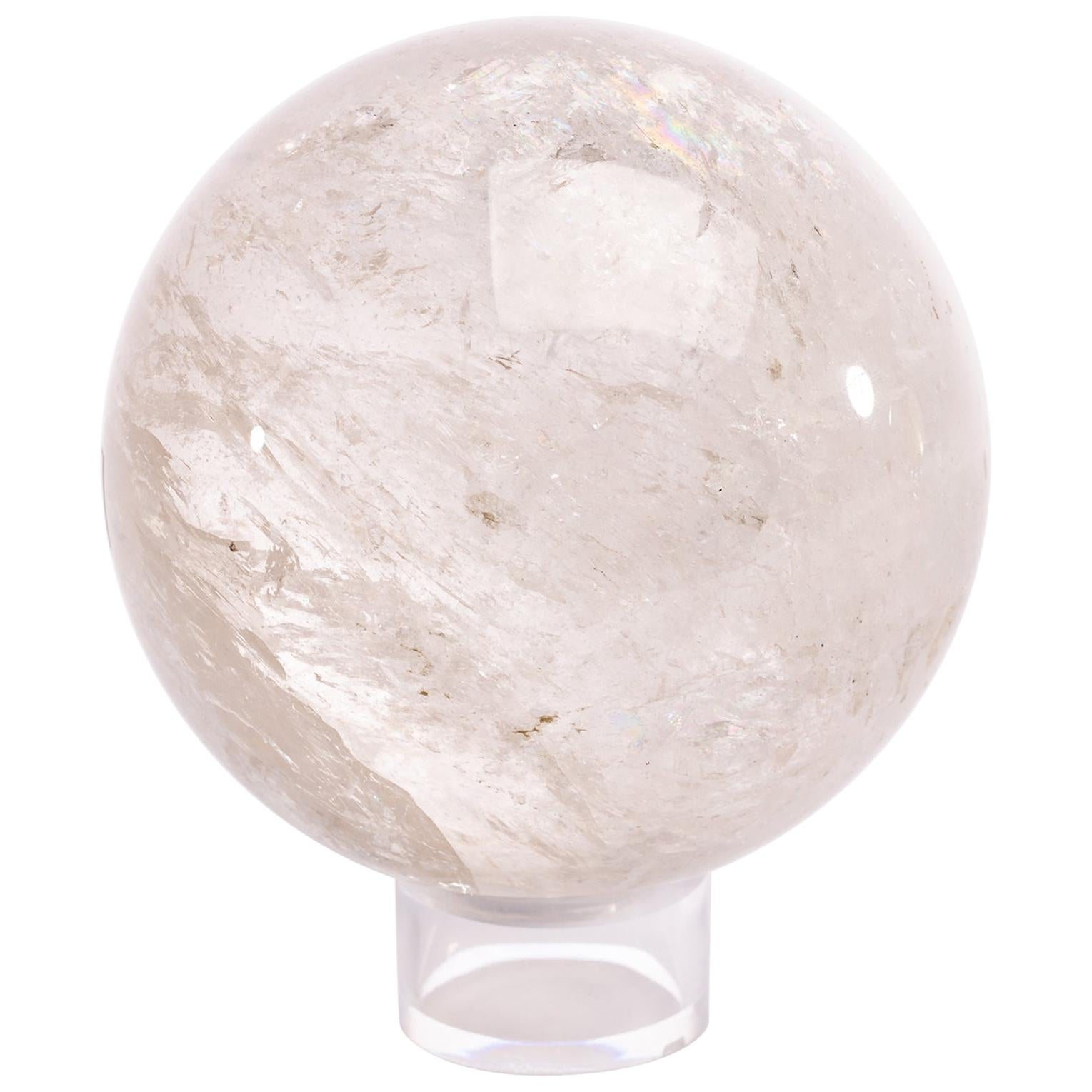 Clear Brazilian Quartz Sphere Mounted on a Acrylic Ring Base