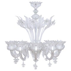 Clear Color Daisy Chandelier in Murano Glass with 12 Lights, 21st Century, Italy
