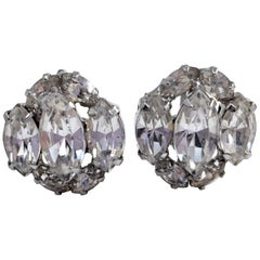 Clear Crystal Cluster Earrings in Silver, Mid 1900s, Prong Set, Screw Back Hardw