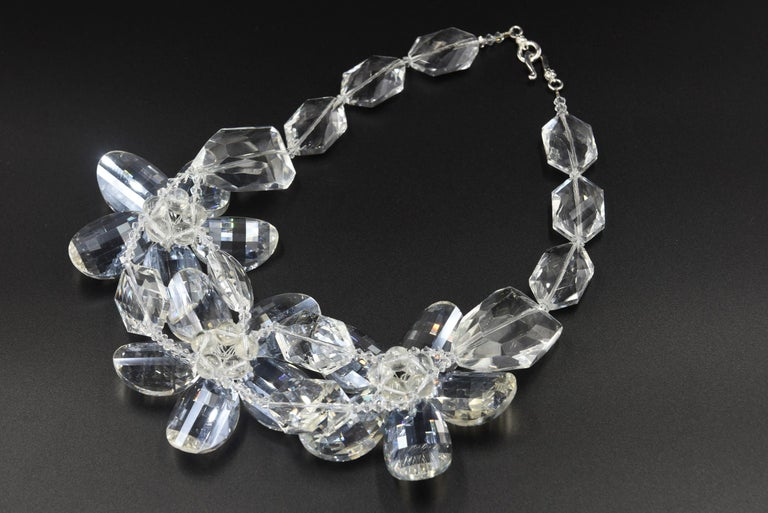 Clear Faceted Lucite Flower Statement Necklace For Sale 2