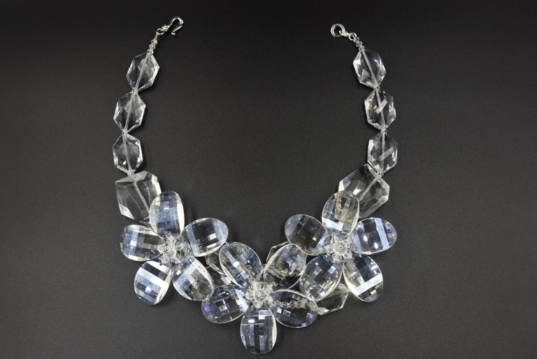 Clear Faceted Lucite Flower Statement Necklace For Sale 4