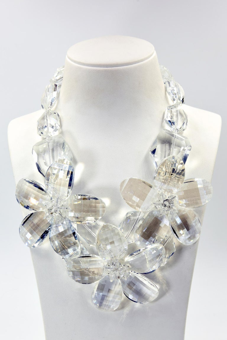 Clear Faceted Lucite Flower Statement Necklace For Sale 5