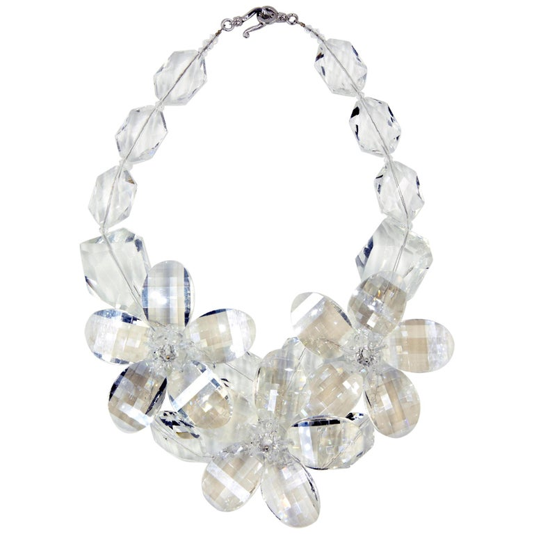 Clear Faceted Lucite Flower Statement Necklace For Sale