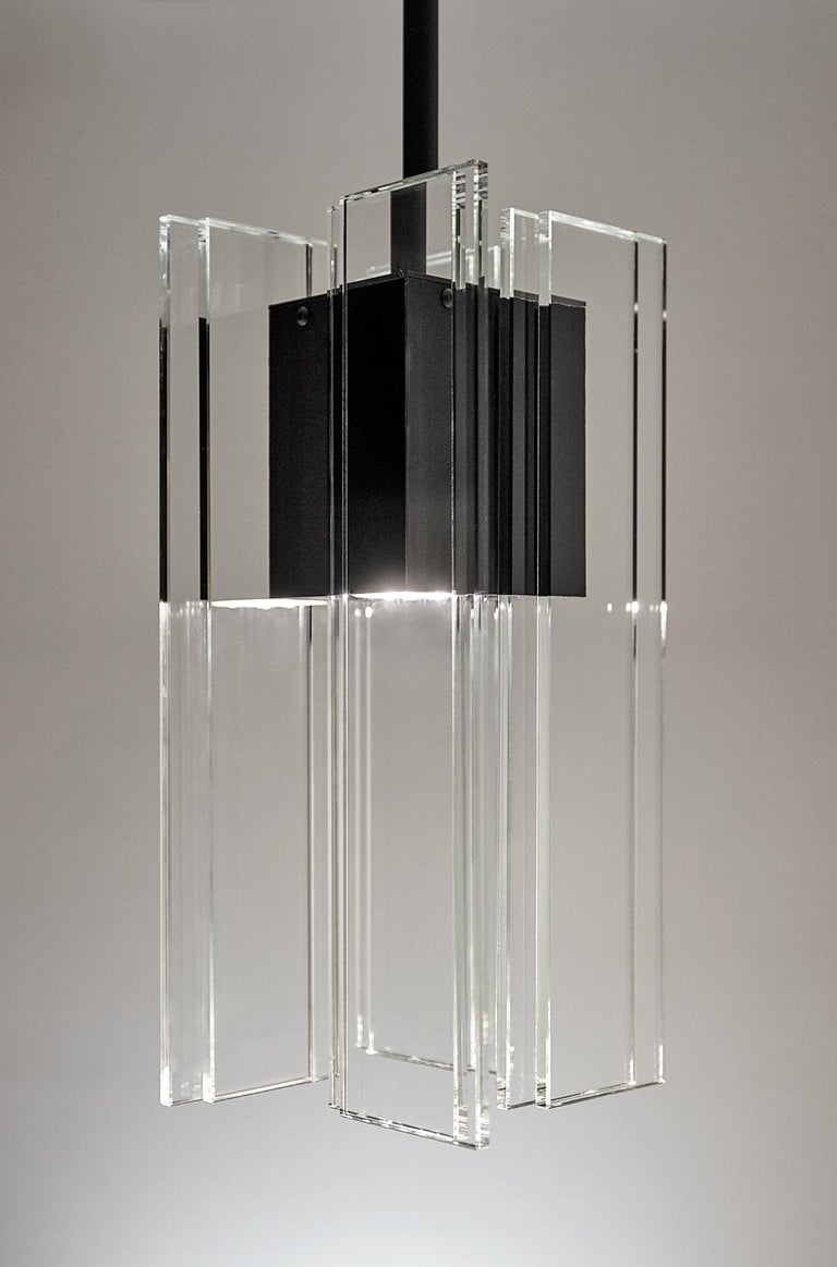 Hand-Crafted Clear Glass and Black Anodized Aluminum Contemporary Led Light Pendant For Sale