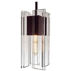 Clear Glass and Black Aluminum Contemporary LED Hanging Pendant Light