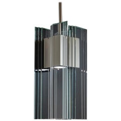 Clear Glass and Nickel Aluminum Contemporary LED Hanging Pendant Light