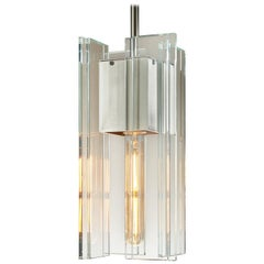 Clear Glass and Silver Aluminum Contemporary LED Hanging Pendant Light