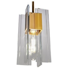 Clear Glass, Brass, and Anodized Gold Aluminum Contemporary LED Light Pendant