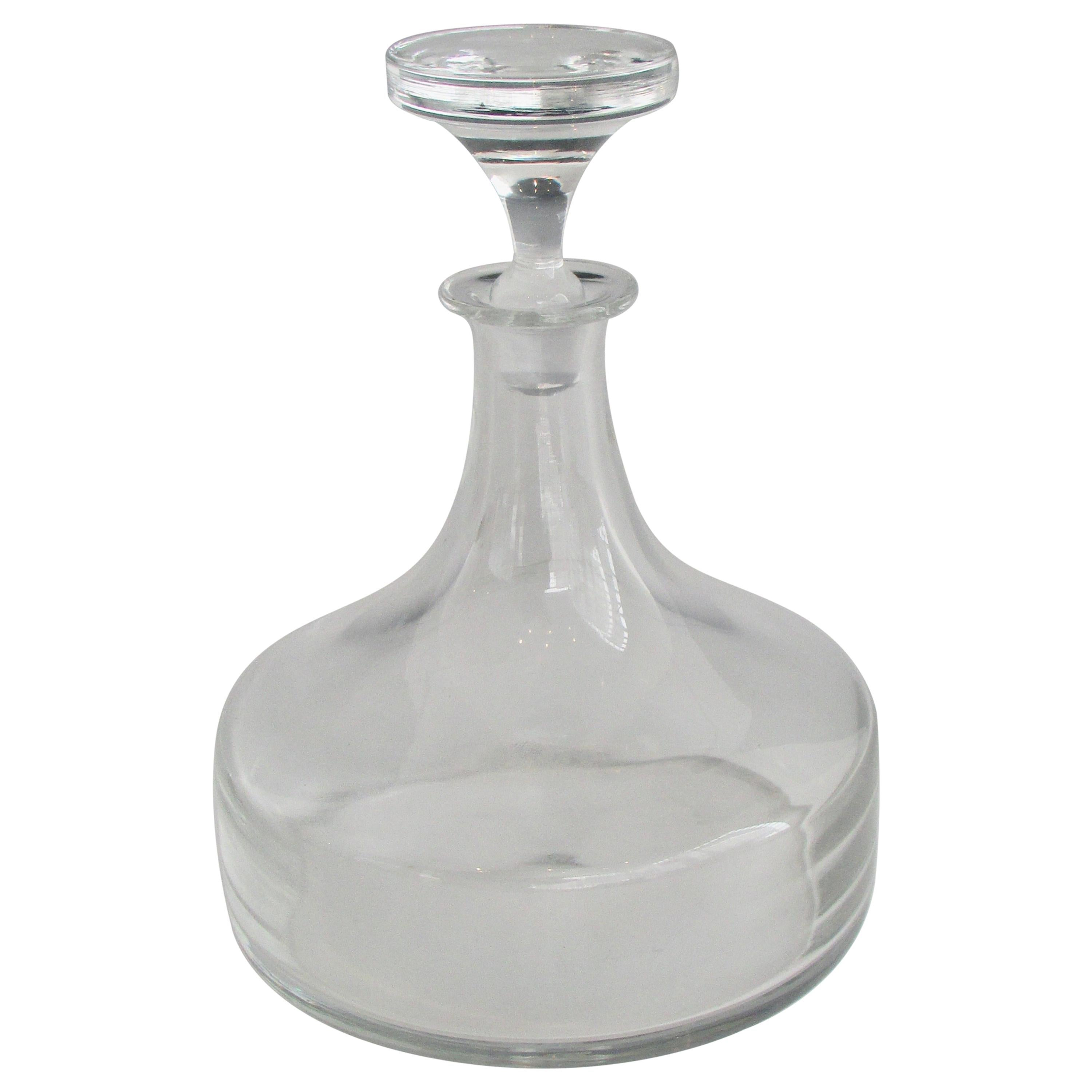 Clear Glass Decanter and Stopper with Polished Bottom