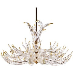 Clear Glass Four-Tier Antler Chandelier by Studio Bel Vetro