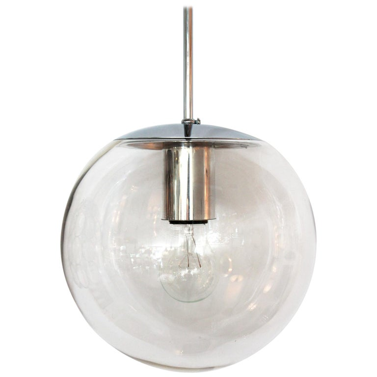Clear Glass Globe Pendant For Sale