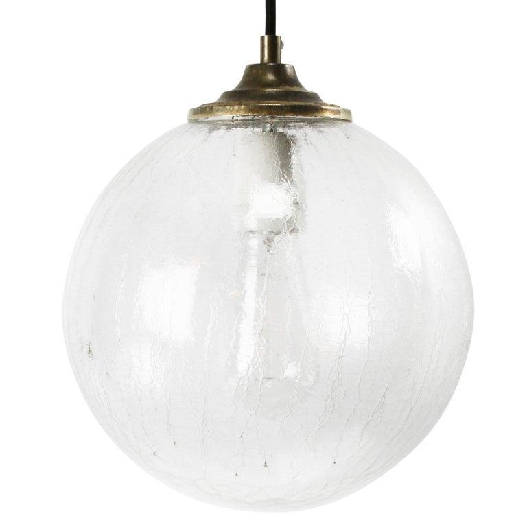 Clear texture glass pendant. Brass top 2 meter / 80