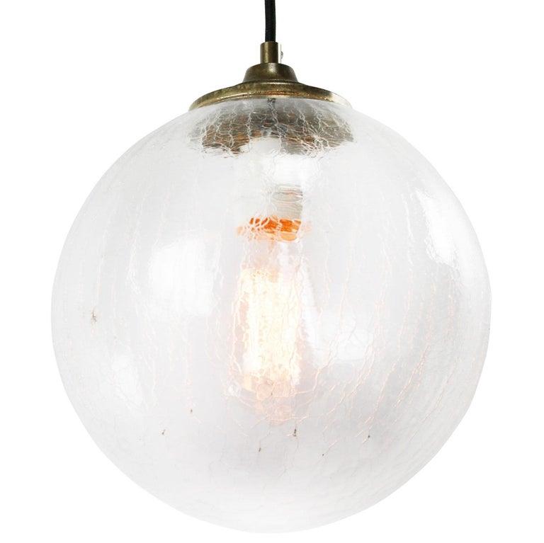 Mid-Century Modern Clear Glass Globe Vintage European Brass Top Pendant Lights For Sale