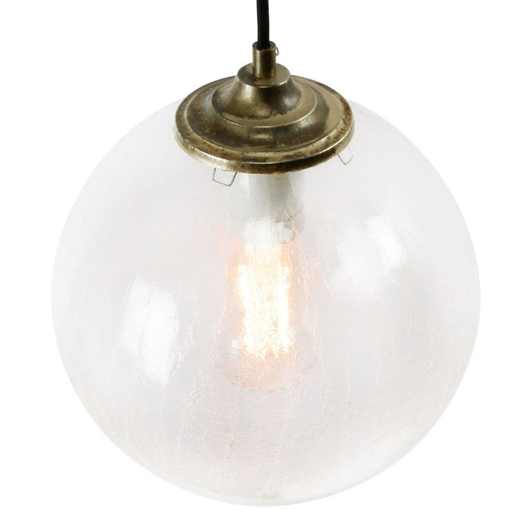 Hungarian Clear Glass Globe Vintage European Brass Top Pendant Lights For Sale