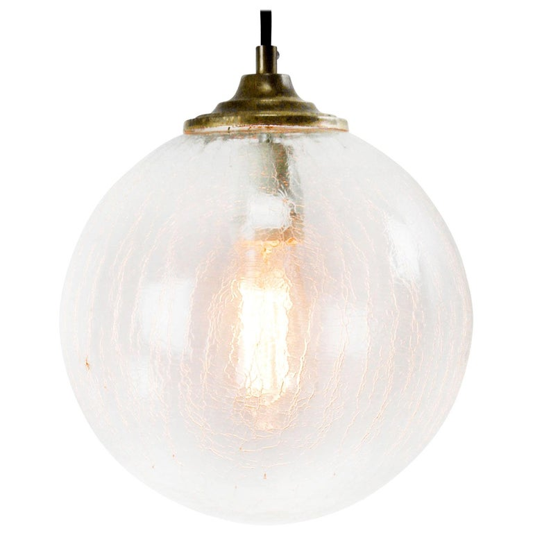 Clear Glass Globe Vintage European Brass Top Pendant Lights For Sale