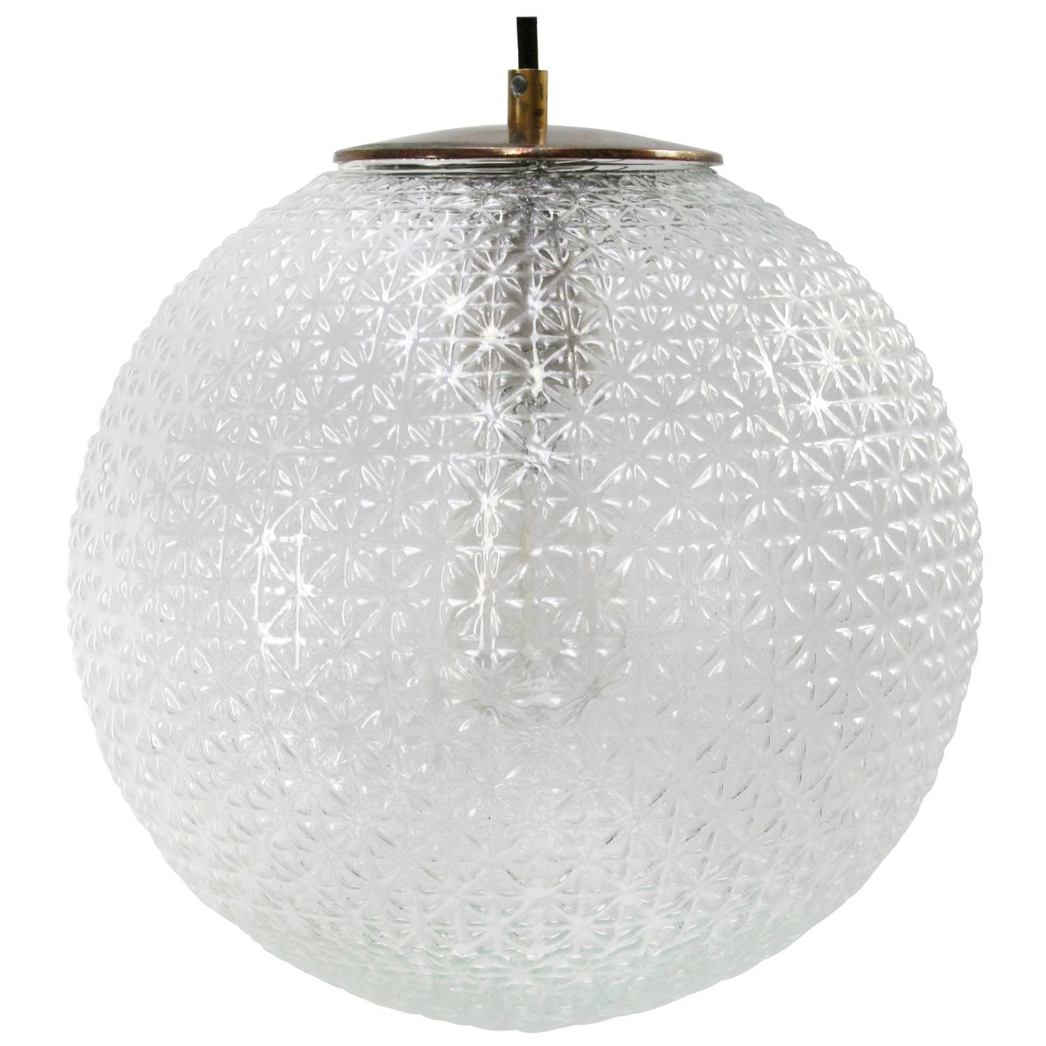 Clear Glass Globe Vintage European Brass Top Pendant Lights