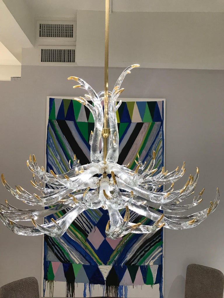 Polished Clear Glass Three-Tier Antler Chandelier by Studio Bel Vetro For Sale