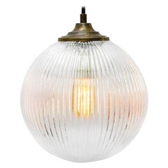 Clear Glass Vintage European Brass Top Pendant Light