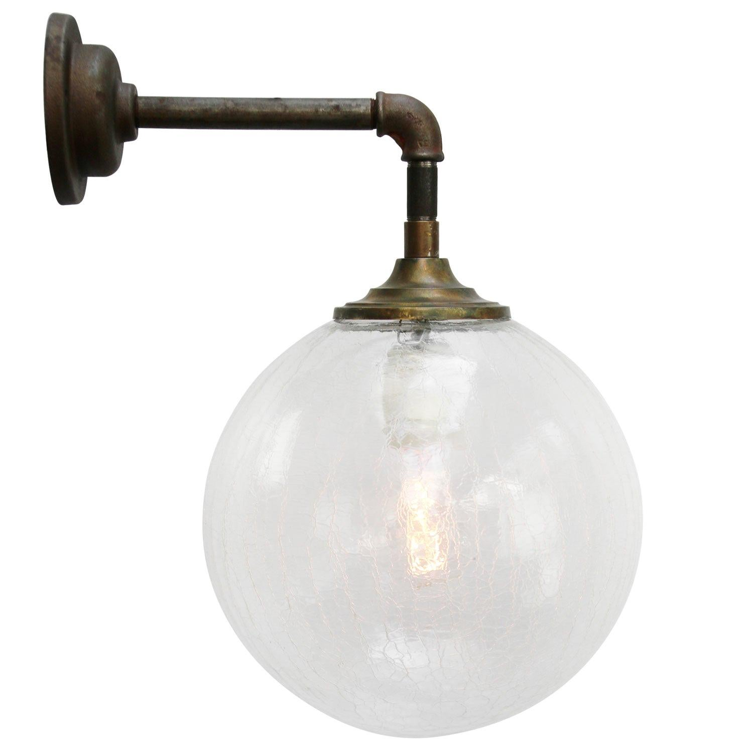 Clear Glass Vintage Industrial Brass Cast Iron Scones Wall Lights