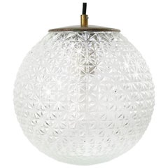 Clear Glass Vintage Mid-Century Brass Top Pendant Lights