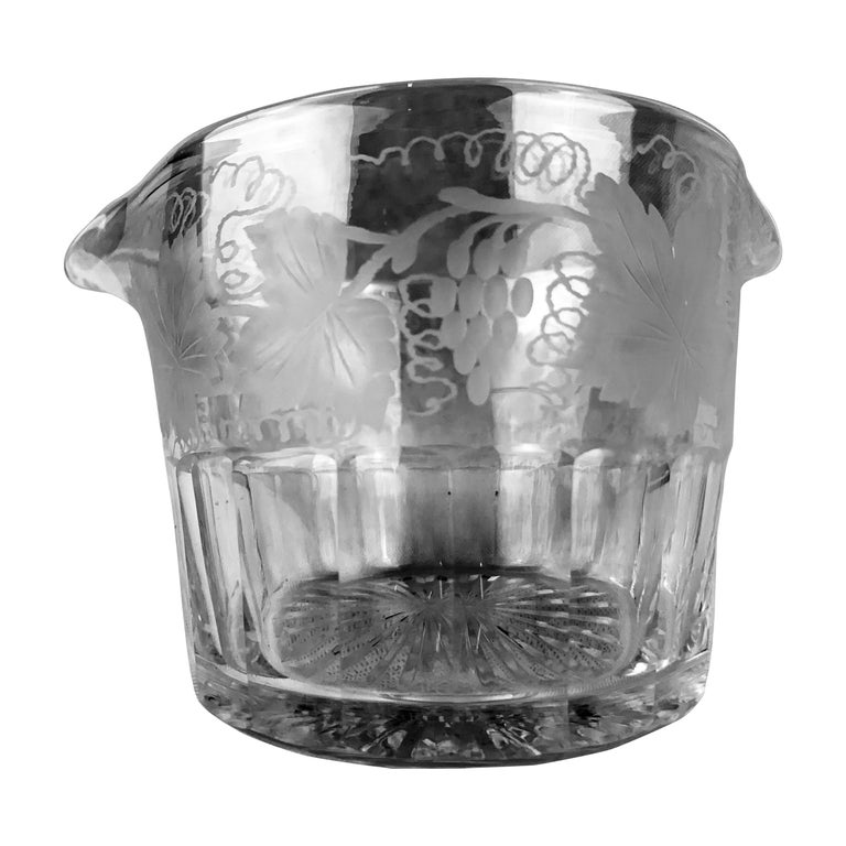 Victorian Double Lipped Wine Rinser with Engraved Grapes and Leaves For Sale