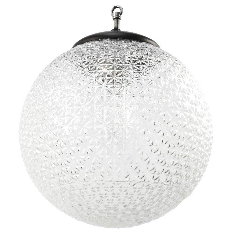 Bauhaus Clear Globe Glass Vintage European Bakelite Top Pendant Lights For Sale