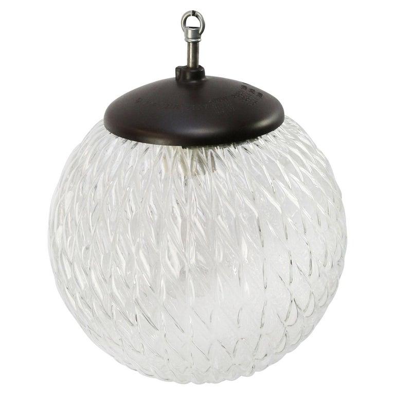 Mid-Century Modern Clear Globe Glass Vintage European Bakelite Top Pendant Lights For Sale